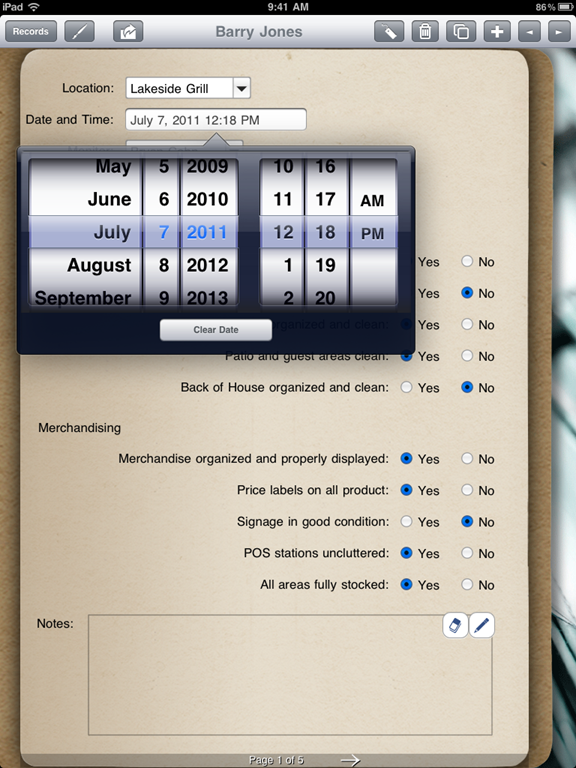 The first way is by creating a date field and use the date pop-up display.  The second way is by creating a text field and use the virtual keyboard.