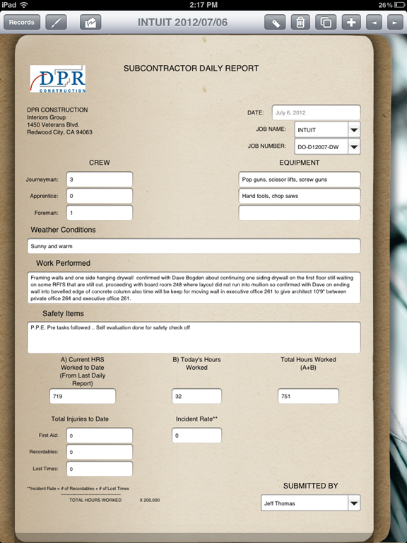 construction daily report template .