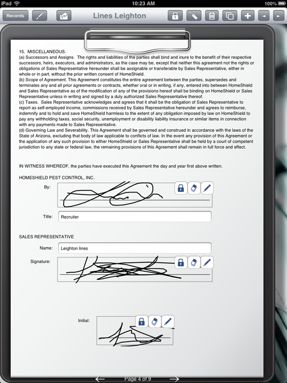 Pest Control Uses iPad to Fill Out Contractor Agreement Form – Contractor Agreement