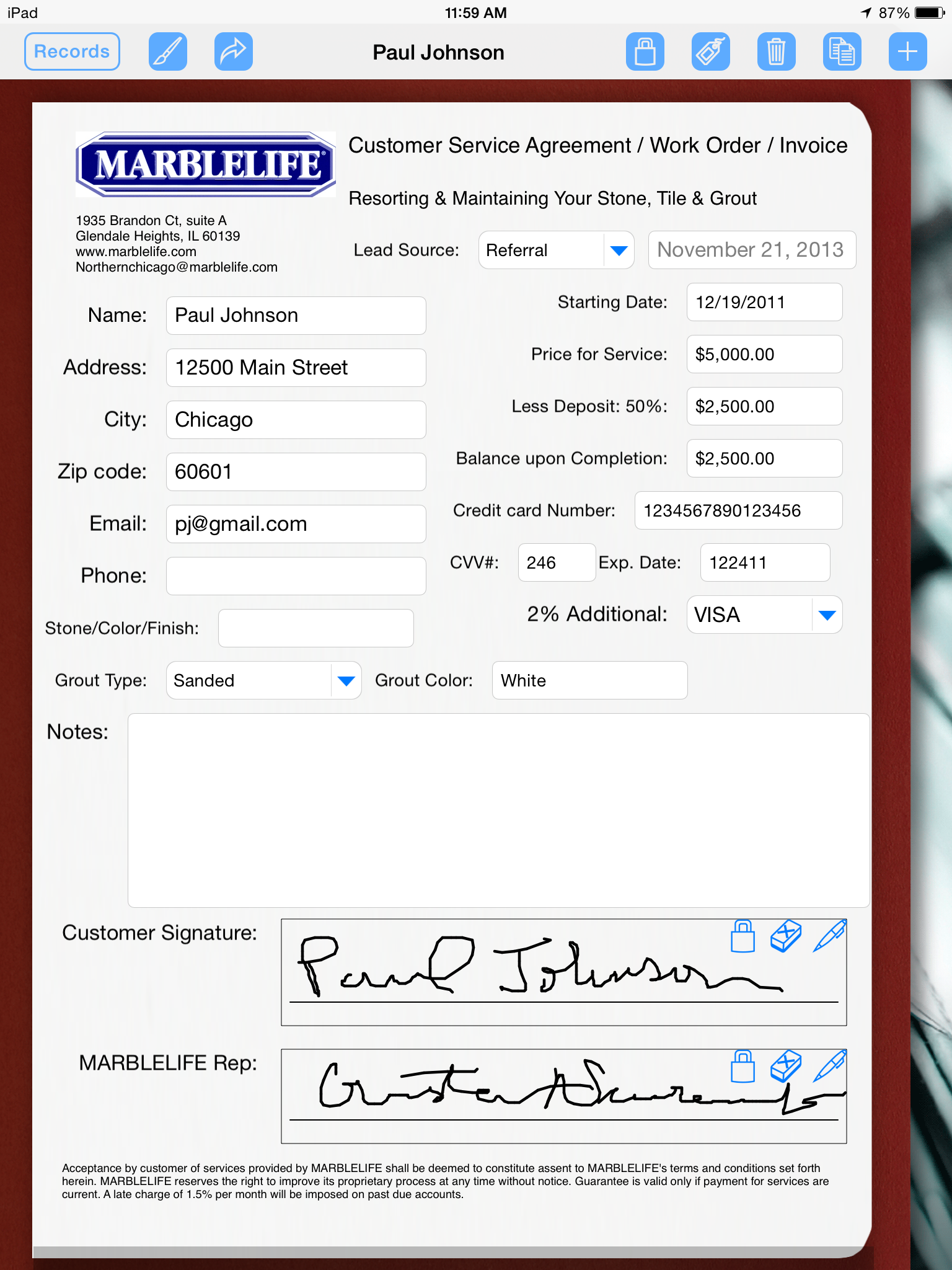 Service Technician Uses His iPad to Collect Signatures | Form ...