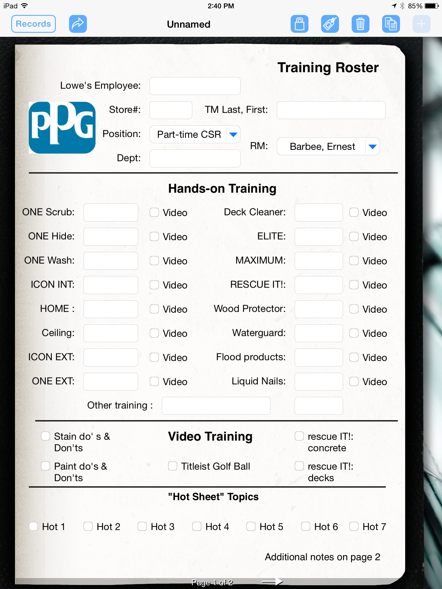 Training Roster Converted Into a Digital Form   Form Connections