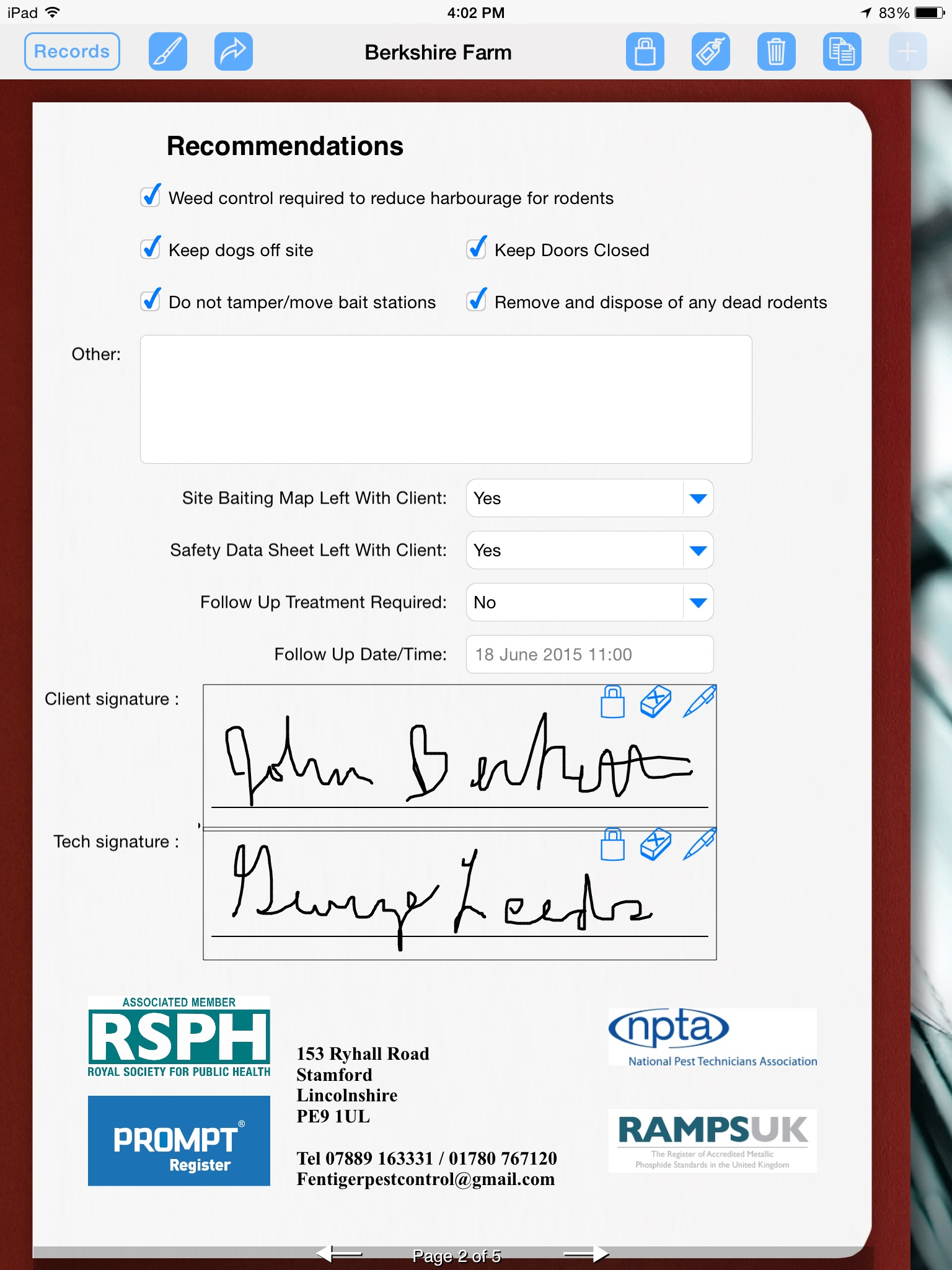 Pest Control Uses iPad to Prepare Service Report | Form Connections
