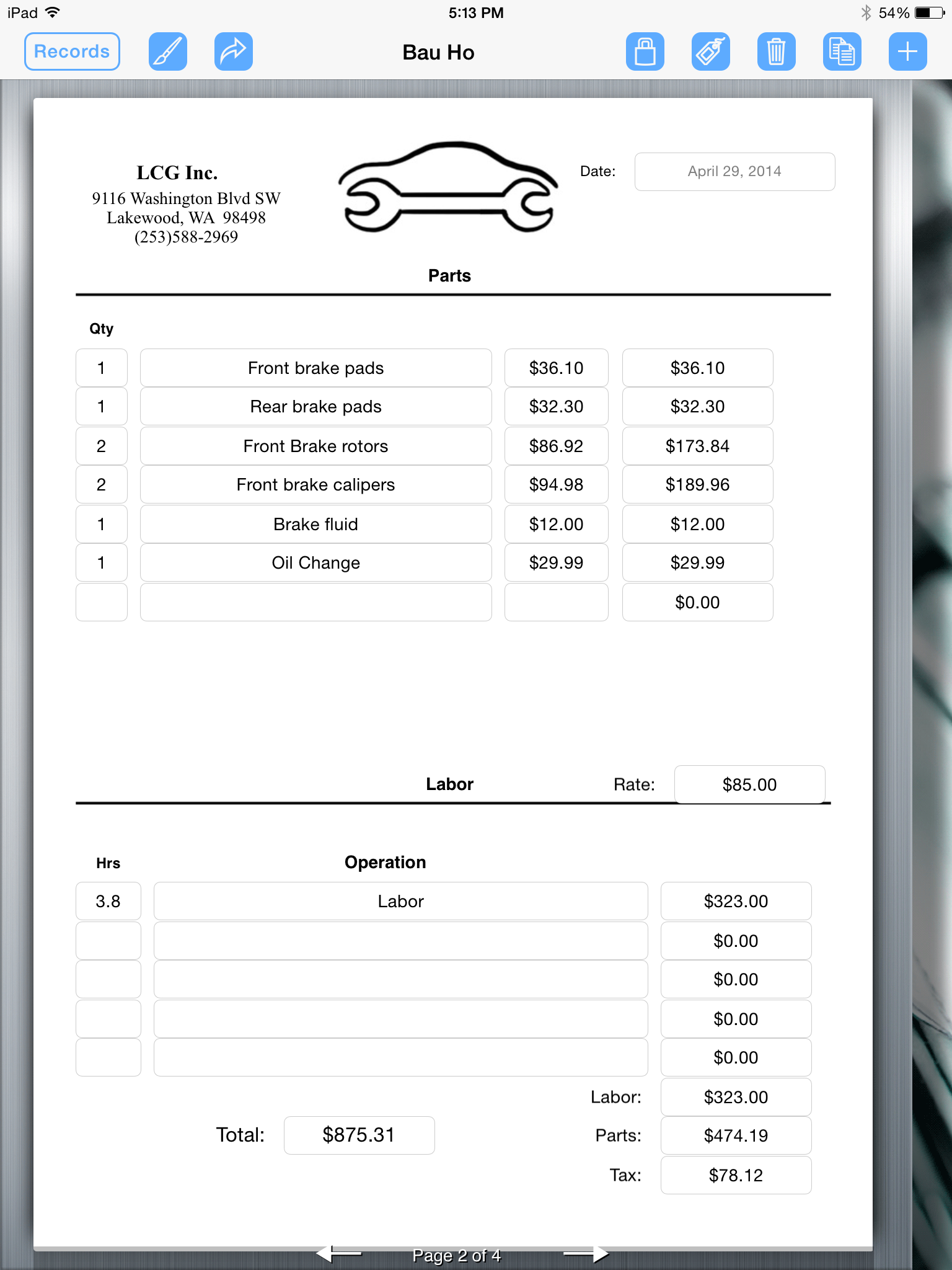 Auto Service Invoice Geccetackletartsco - Auto repair shop invoice software