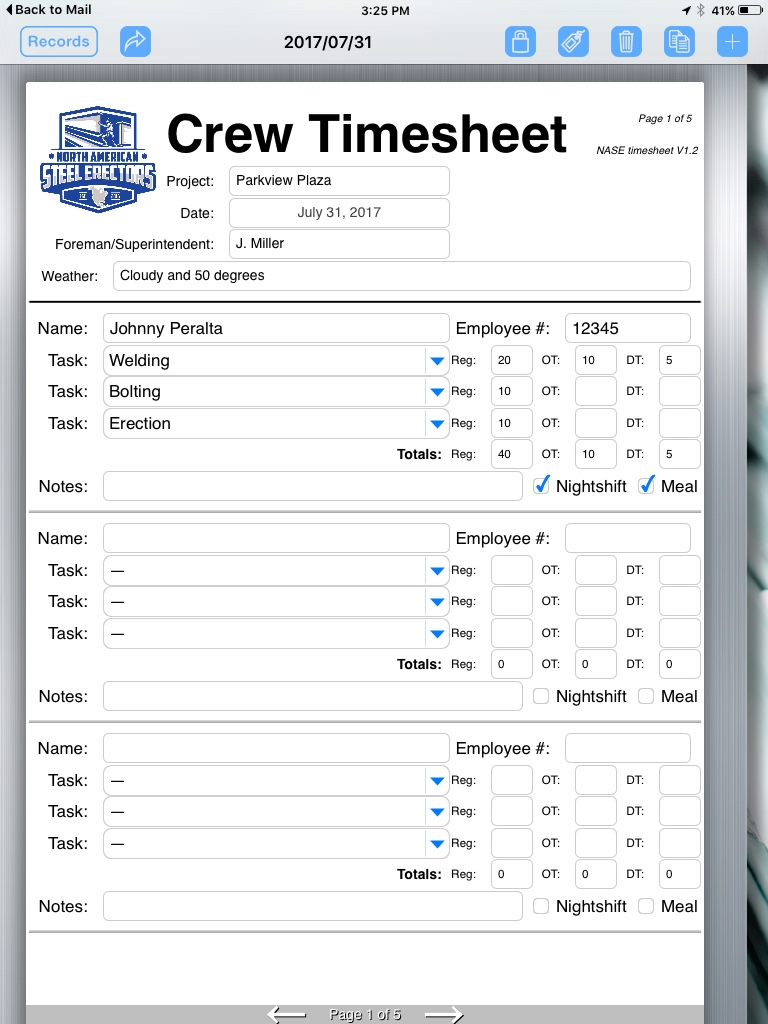 steel fabricator uses formconnect app to create timesheet form