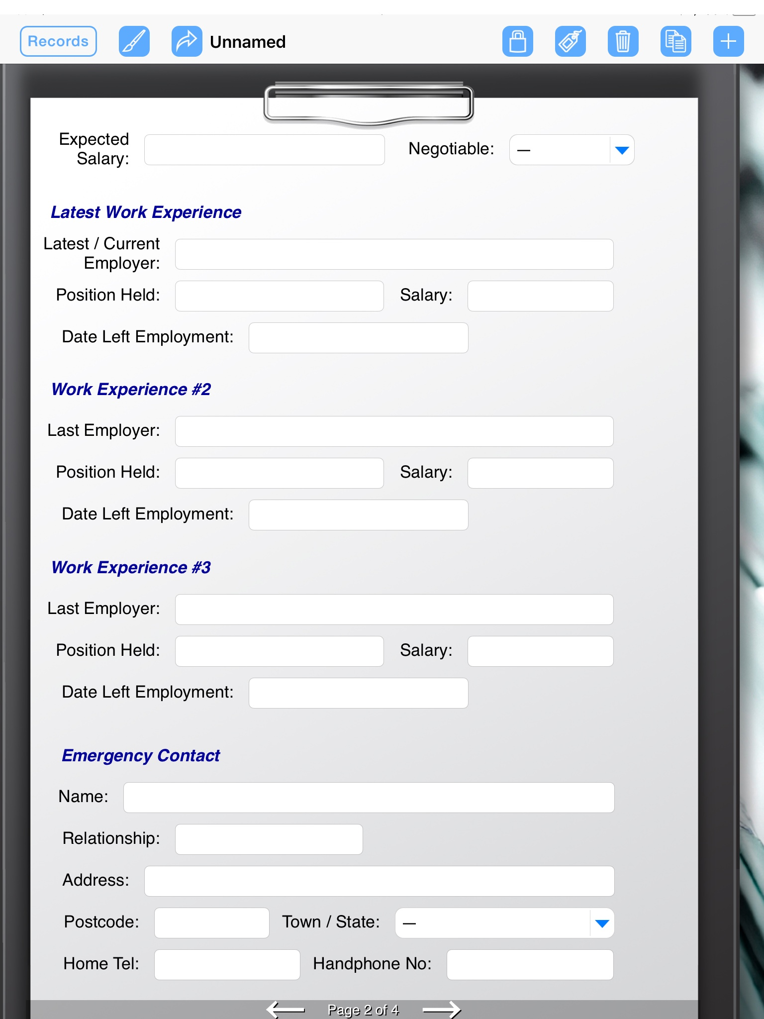 company  digital form  employment application form connections