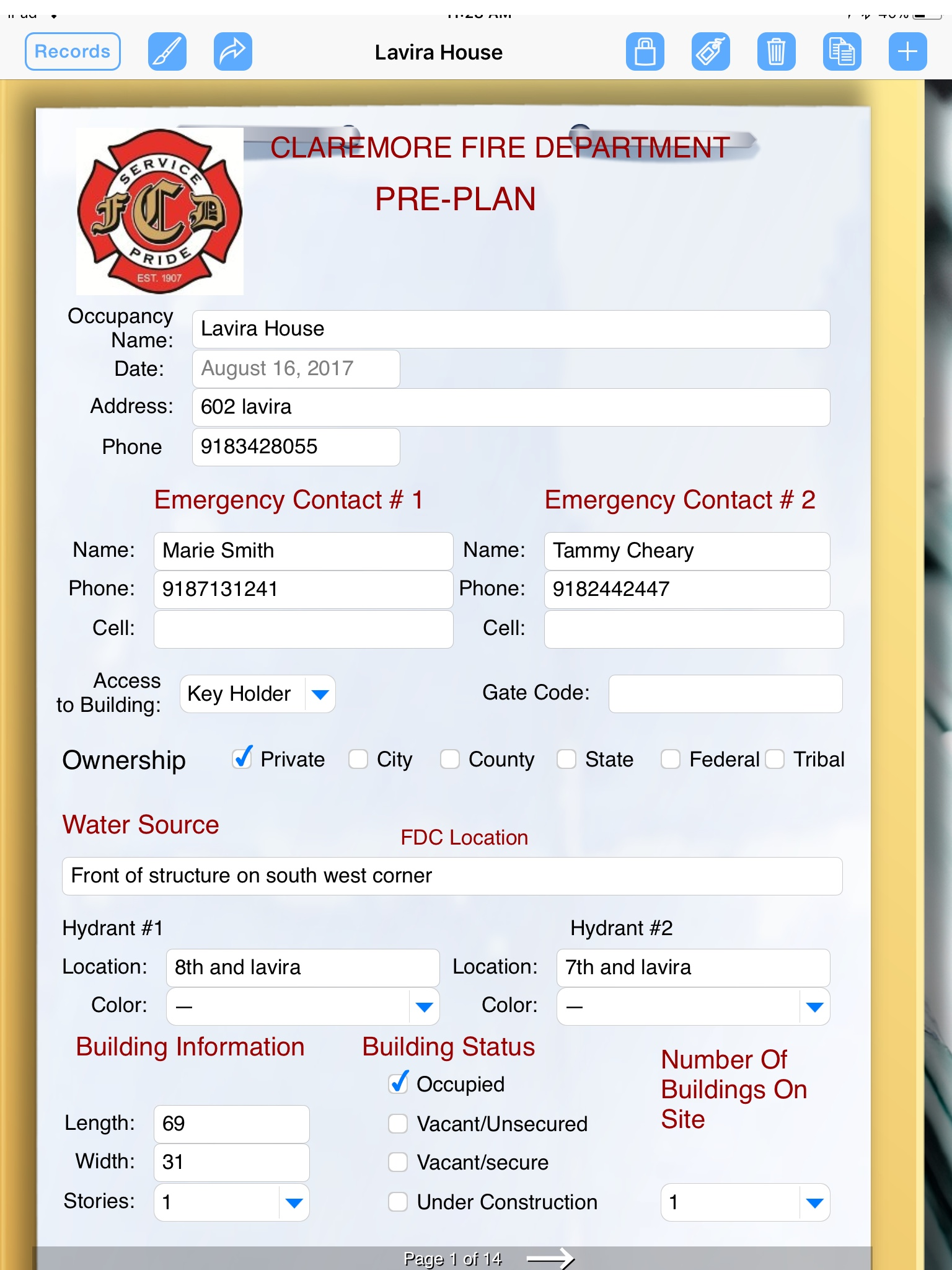 fire department uses formconnect app for emergency pre